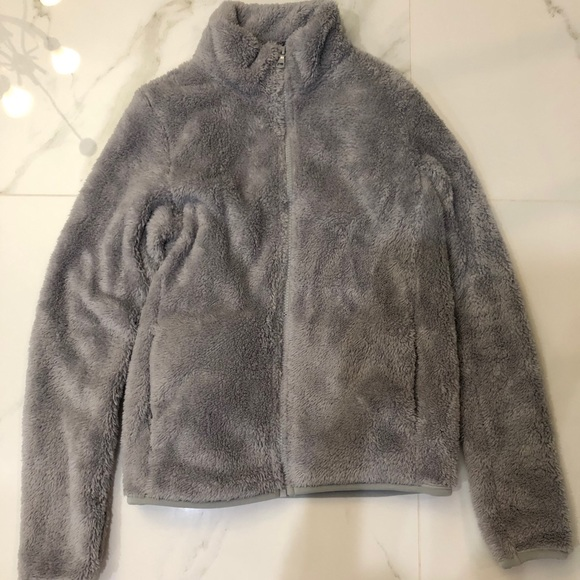 Uniqlo Grey Sherpa Fleece Zip-Up Jacket Size: XS